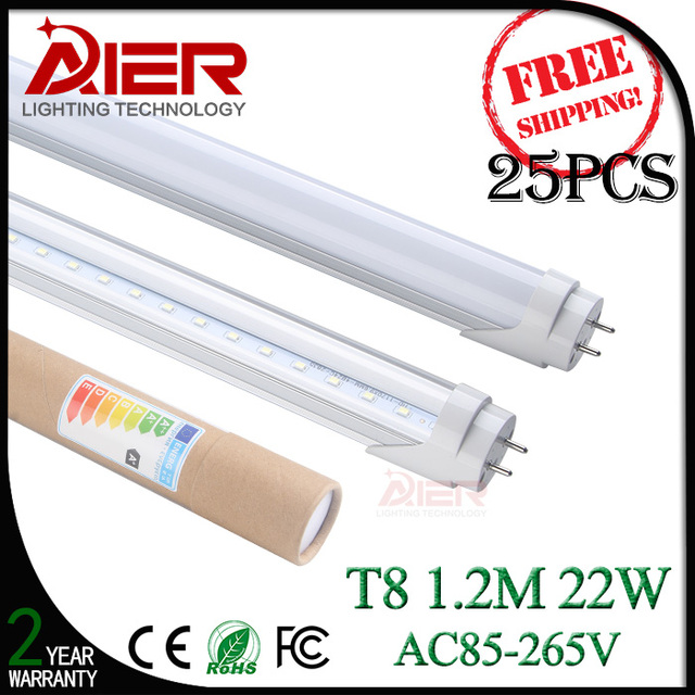 25pcs/lot fedex free shipping 4ft led tube t8 1200mm 22W CE RoHS