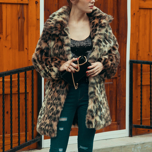 Image 2 - שיק הנשים Leopard פו פרווה מעיל החורף לעבות חם ארוך שרוול Slim פרווה מעיל הלבשה עליונה תעלה אלגנטית מעילי מסיבת מעיל