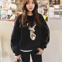 Jellpe Autumn New Fleece Loose Casual Sweatshirt Deer Print Bat Sleeve Warm Velvet Thick Coat Women