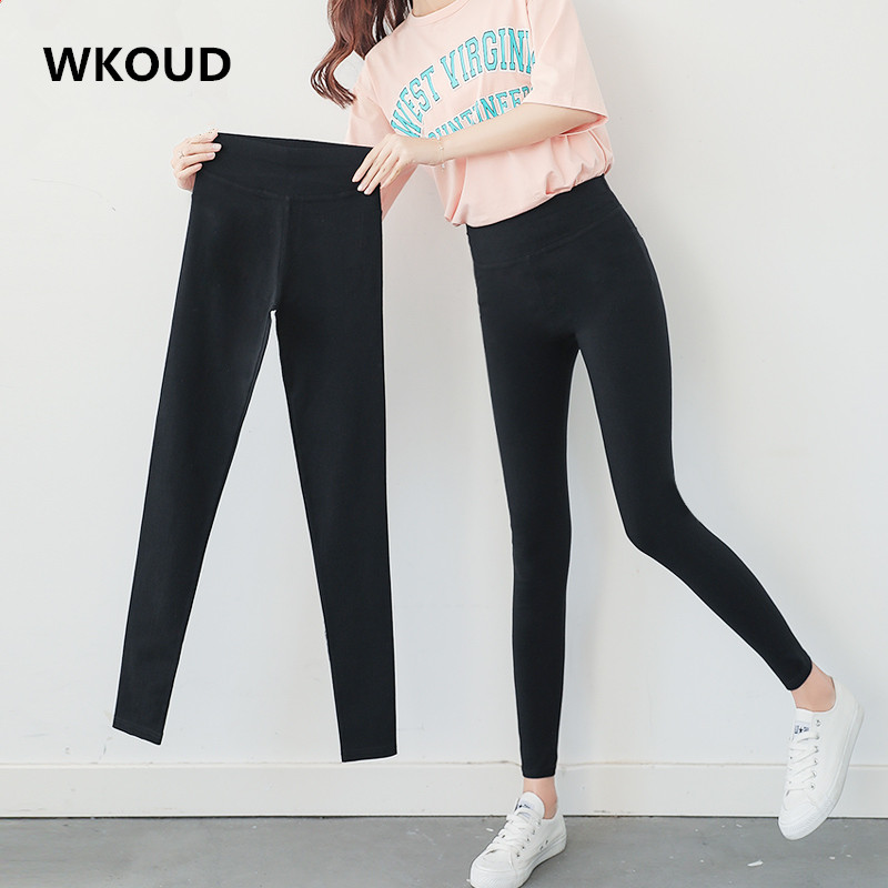 WKOUD Women's Black Pencil Pants High Waist Skinny Leggings Two Pockets Back Casual Trousers Stretch Footless Leggings P8347
