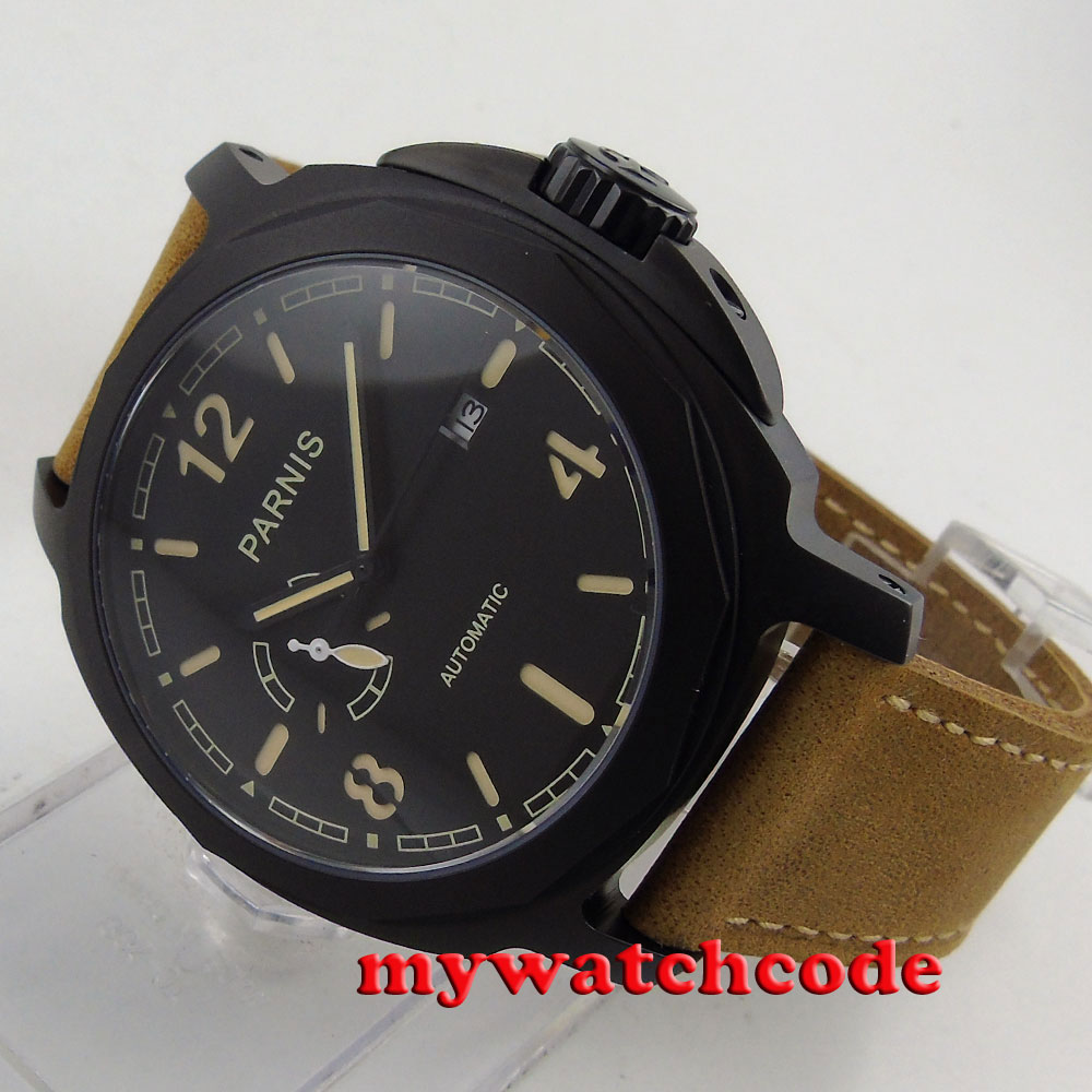 Parnis black dial PVD case california Sapphire glass Automatic Mens watch 474E