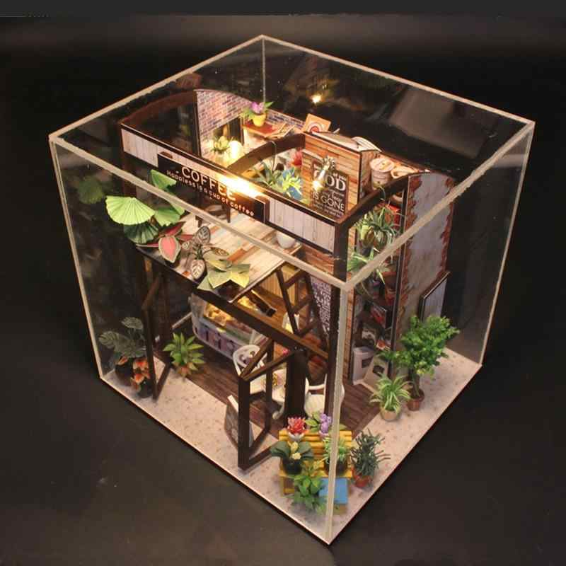 Doll House Miniature Diy Dollhouse with Furnitures Wooden House Waiting Time Toys for Children Birthday Gift M027