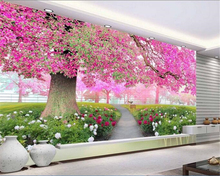 beibehang papel de parede  A 3D TV setting wall in the flower and sea cherry blossom tree wallpaper for walls papier peint