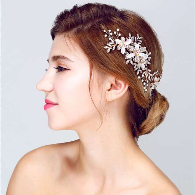 Newest Elegant Women Side Headbands Floral Hair Accessories Wedding Bridal  Hair Jewelry 3a161a5171b