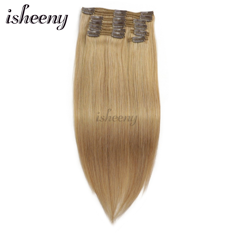 Isheeny Remy Clip In Human Hair Extensions Dark Blonde Color 27 Thick Double Weft Brazilian Hair Clip Ins Full Head Set