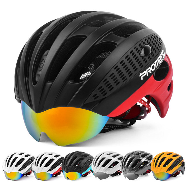 PROMEND Cycling Goggles Helmet Ultralight Integrally-molded Bicycle Helmet 3 Lens MTB Bike Helmet 27 Vents 285g Casco Ciclismo inbike 2017 cycling glasses gafas ciclism nxt lens uv400 proof bike eyewear goggles mtb road bicycle photochromic sunglasses
