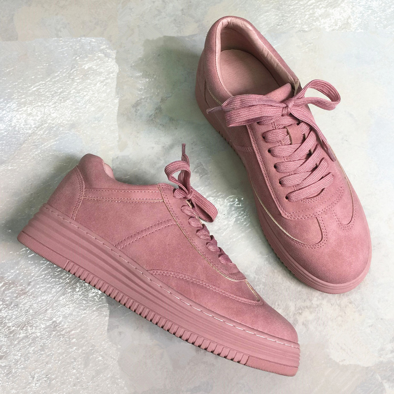 Teahoo Genuine Leather Women Sneakers Fashion Pink Shoes For Women Lace Up White Shoes Creepers ...