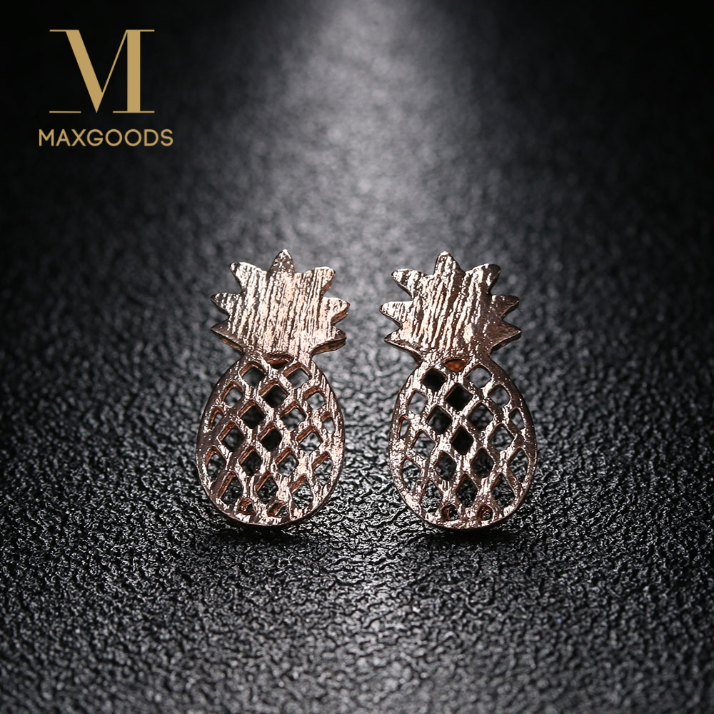 1 Pair Pineapple Shape Earrings Fashion Cutely Silver/Gold/Rose Gold Color Ear Studs Jewelry For Women Girls Gifts Wholesale золотые серьги по уху