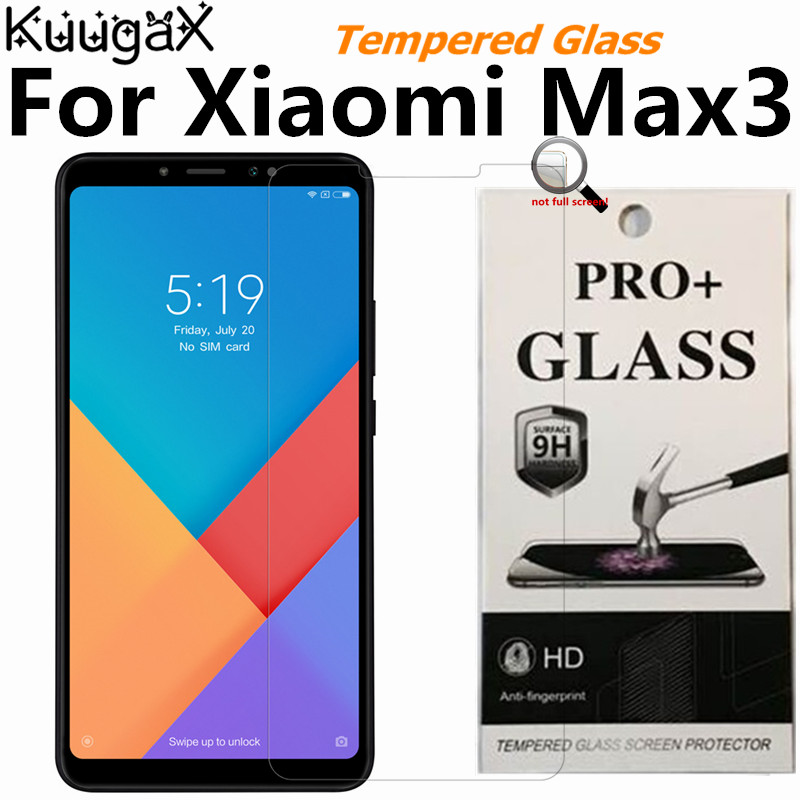 Tempered Glass For Original <font><b>Xiaomi</b></font> Mi Max 3 6GB RAM <font><b>128GB</b></font> ROM max3 smart phone Screen Protector Film on Toughened display 9H image