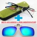 Un CLIP polarizado y clásico hombres aleación de titanio azul lentes recubiertas de negocios doble puente gafas de lectura 1 + 1.5 + 2 + 2.5 + 3 + 3.5 + 4