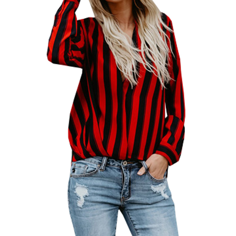 9e863859732d78 Black And Red Striped Shirts For Women Casual Long Sleeve Spring Summer  Autumn Shirt Deep V Neck OL Blouse Lady Office Shirt-in Blouses & Shirts  from ...