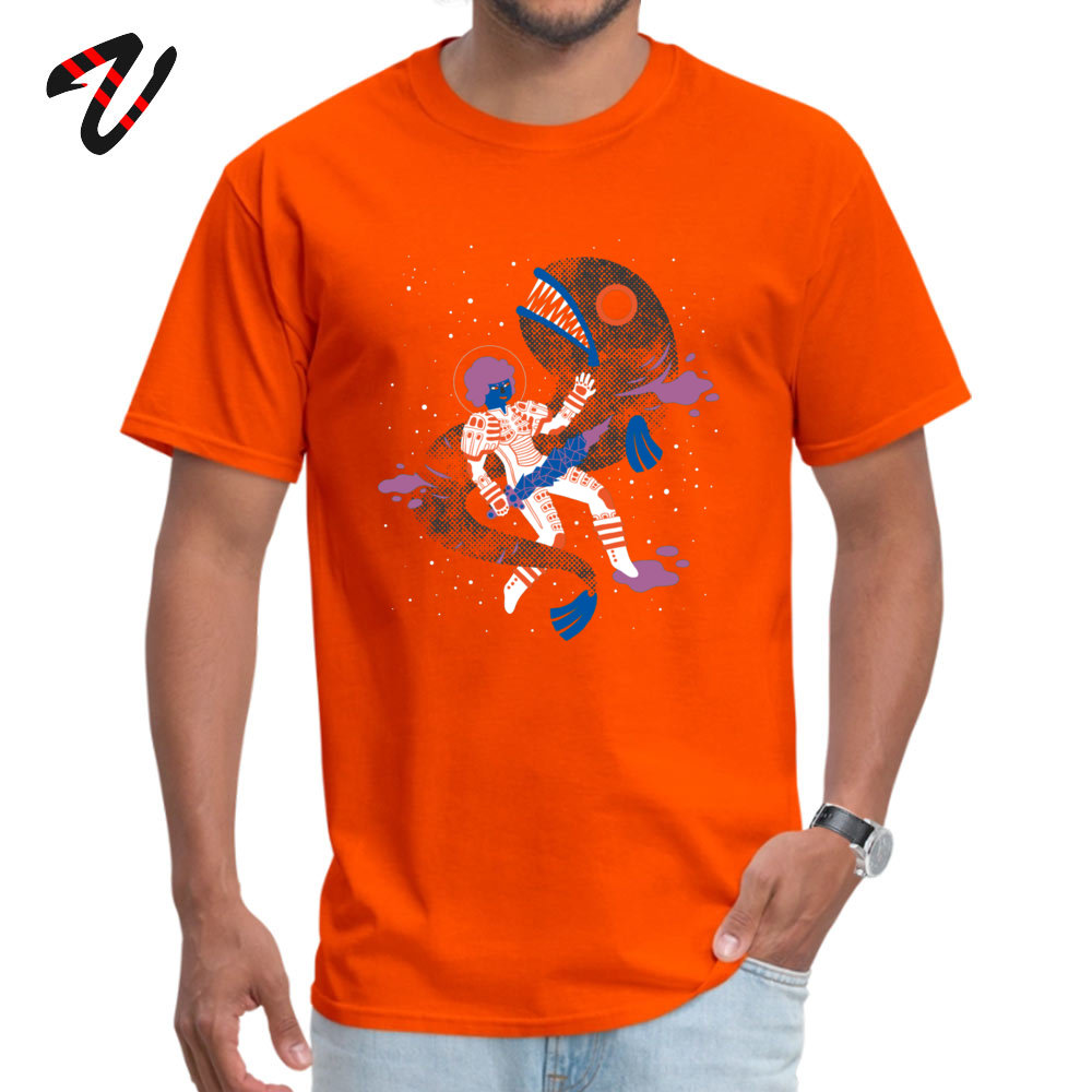 Men's Tshirts SPACE FISH Cool T Shirt Pure Cotton Round Neck Short Sleeve Custom Top T-shirts Father Day Drop Shipping SPACE FISH 3809 orange