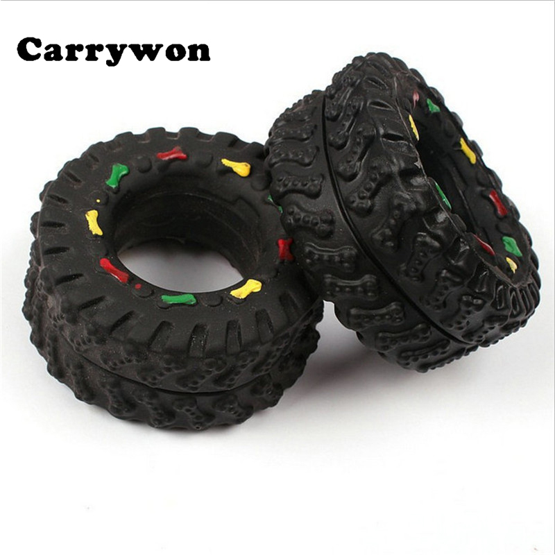Carrywon HOT SALE! Pet Dog Cat Animal Chews Squeaky Sound Rubber Tire Shape Dogs Toy Teeth Bite Resistant 8*4 cm Tire Pets Toys