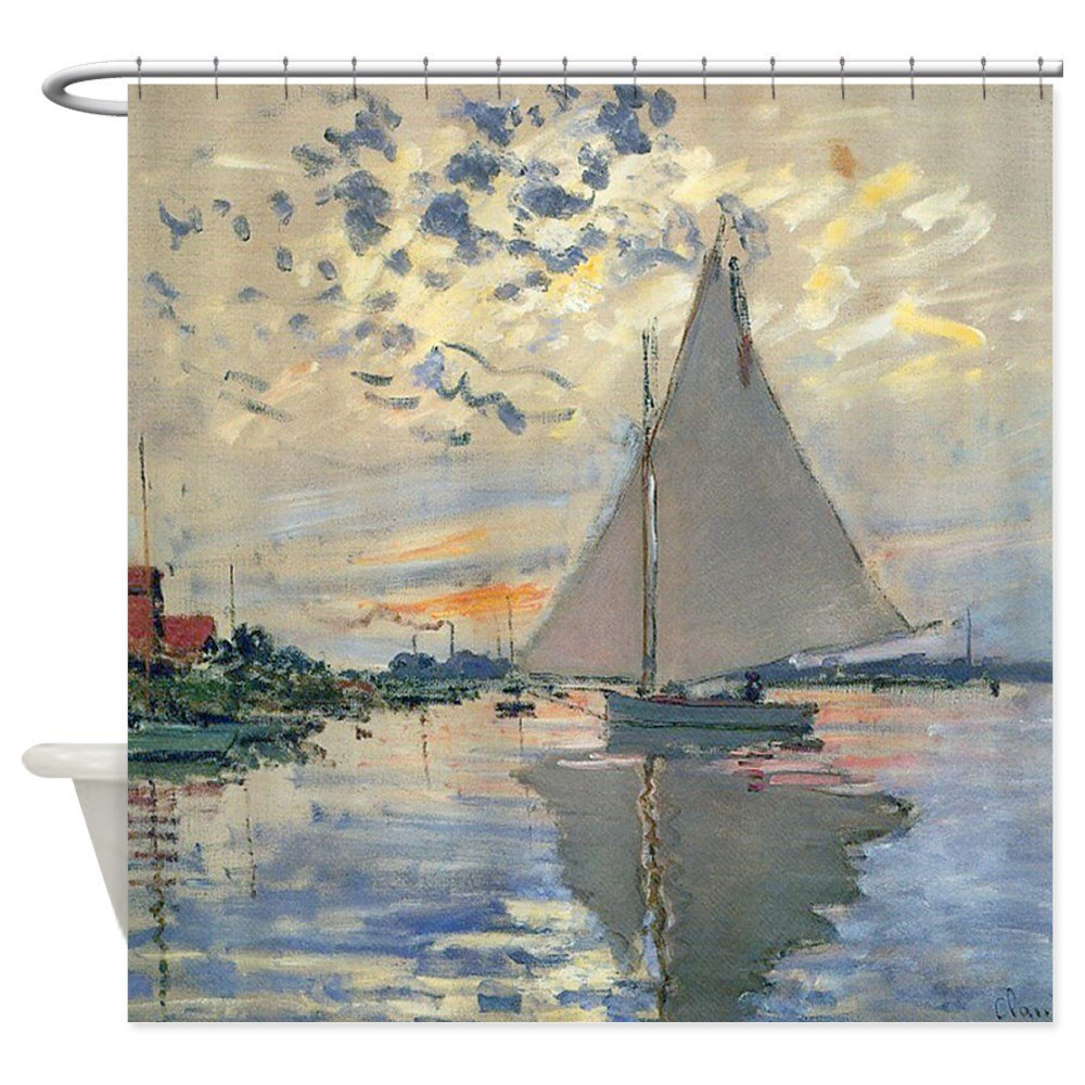 Monet Sailboat French Impressionist - Decorative Fabric Shower Curtain (69x70)
