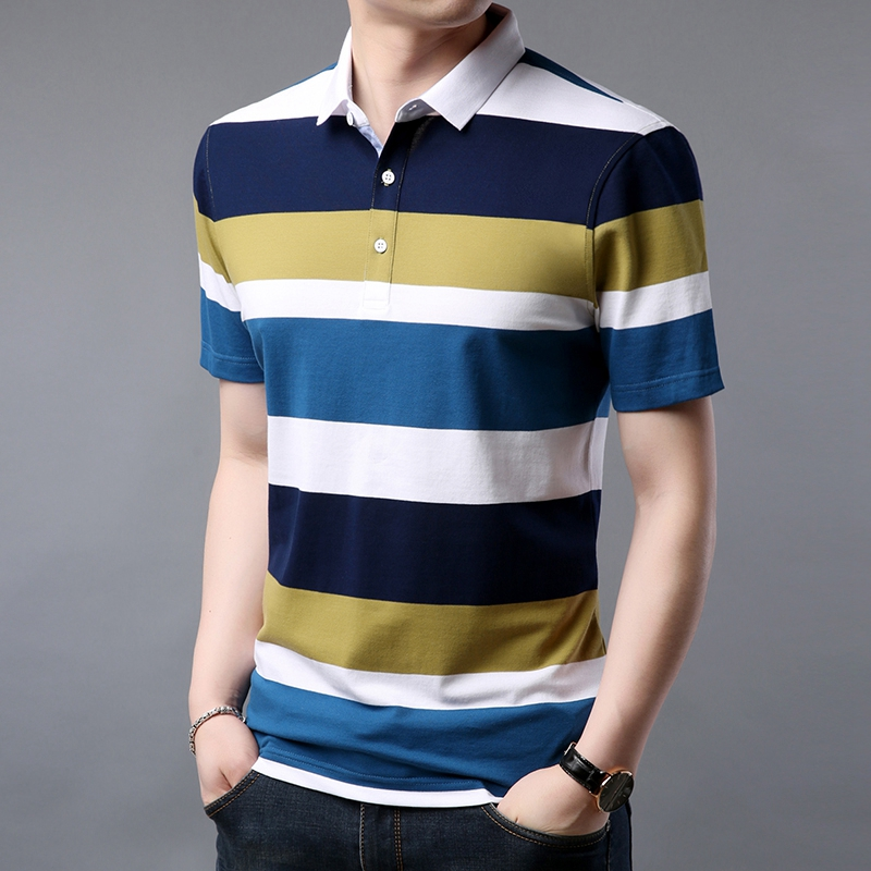 mens   polo   shirt brands casual knitted designer men's   polo   shirt high quality cotton striped men clothes 2019   polo   M-3XL
