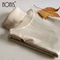 Nonis 2017 New Women Sweaters High Quality Warm Knitted Tops Ladies Pullovers Turtleneck Knitwear Candy Color
