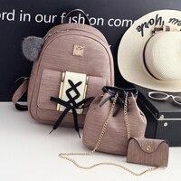School Bags For Teenage Girls Black PU Leather Women 3Pcs Set Small Women Backpacks Female