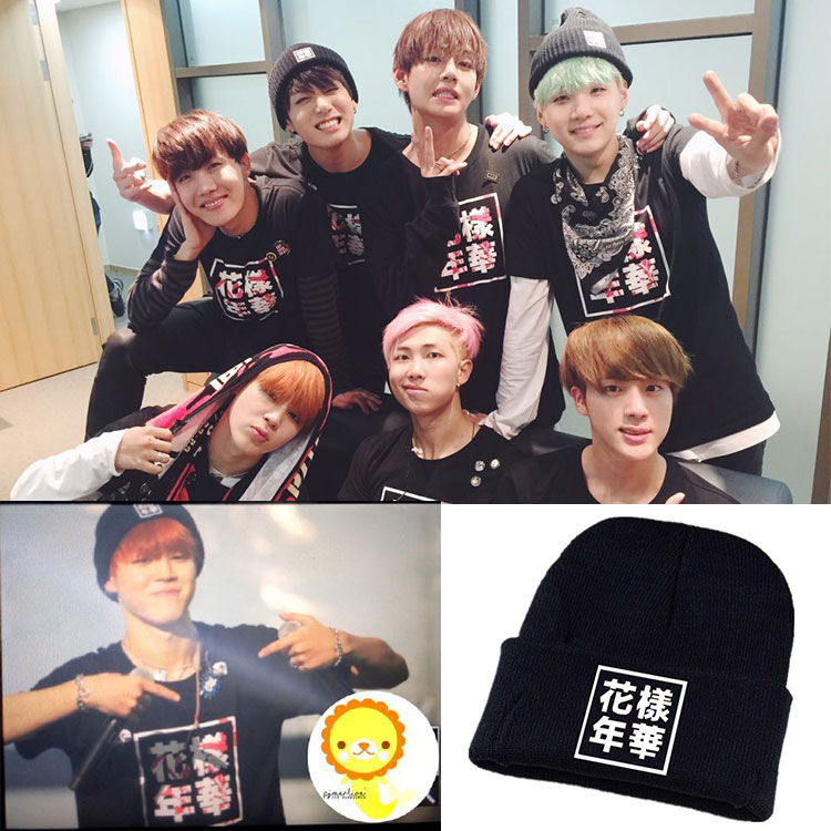 Kpop children BTS Bangtan hat mood for love double concert album wool cap BTS k-pop Korean men and women wool hat knitted hat exo 2nd album repackage love me right kpop