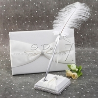 Free Shipping Beautiful White Satin Wedding Guestbook and Pen Set Wedding Decoration Party Ceremony Supplies