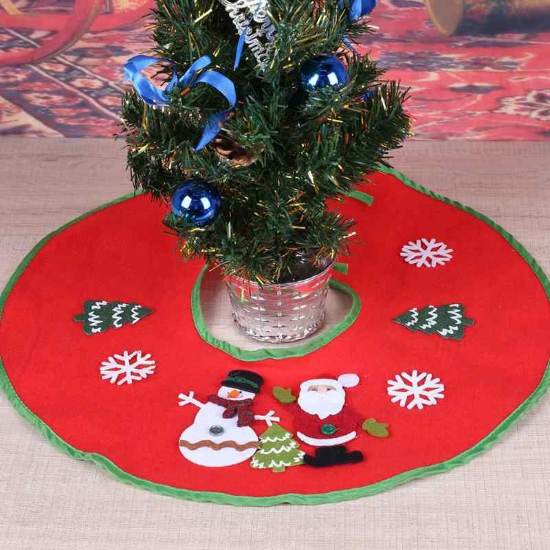 Lovely Red Non-Woven Christmas Tree Skirt Aprons Santa and Snowman Decoration for Home Xmas Tree Skirt New Year Decoration 1
