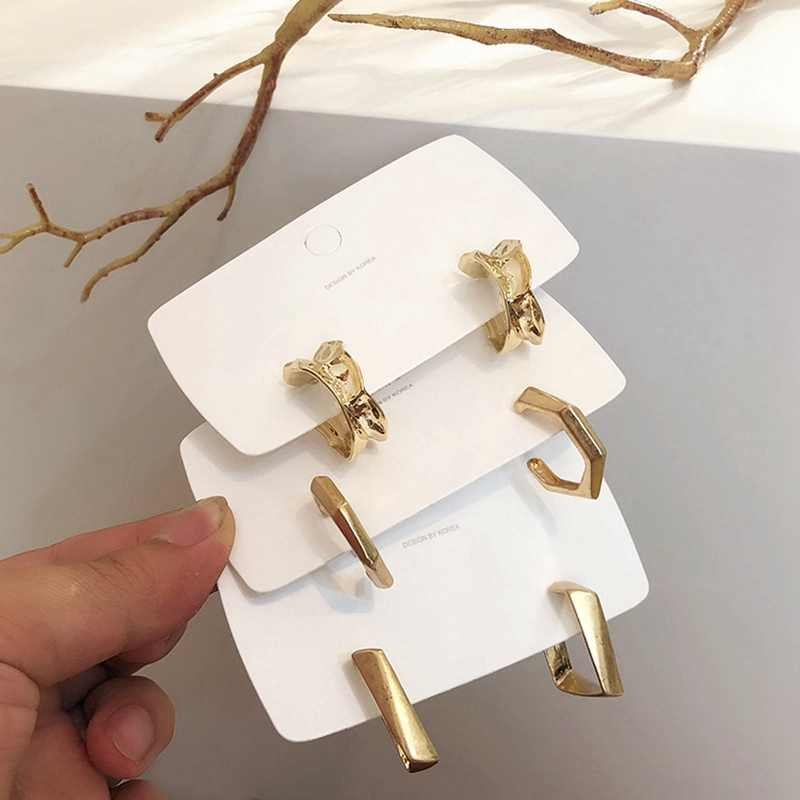 MENGJIQIAO New Punk Metal Gold color Square Hoop Earrings For Women Jewelry Irregular Circle Brincos Party Ear Accessory Jewelry
