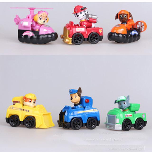 6 pçs/set Patrulha Canina Cão Filhote de cachorro de Brinquedo Brinquedos Anime Figuras de Ação Boneca Carro Patrulha Canina Patrulla Juguetes Presente para Criança WJ354