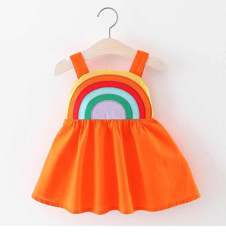 8ecd5eaff483e Summer 2019 Girls Rainbow Dresses Baby Clothes