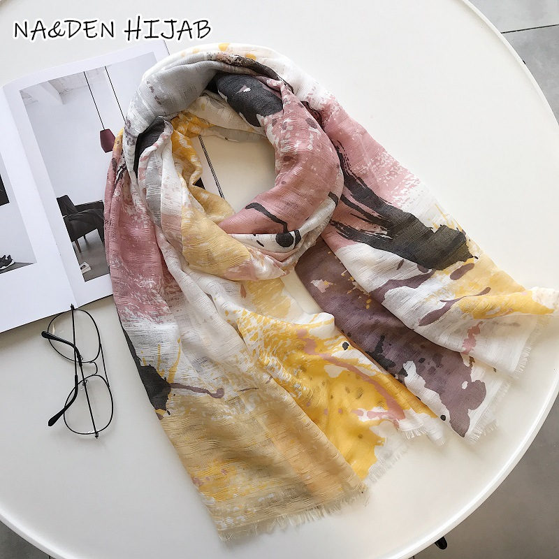 2019 popular NEW fashion multi Graffiti Print hijab scarf luxury islamic hijabs women scarves shawls brand
