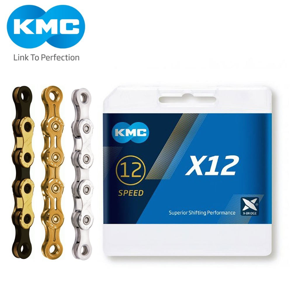 KMC X12 12 Speed 126L MTB Mountain Bike Bicycle Chain 12s Golden Chain with Magic Link