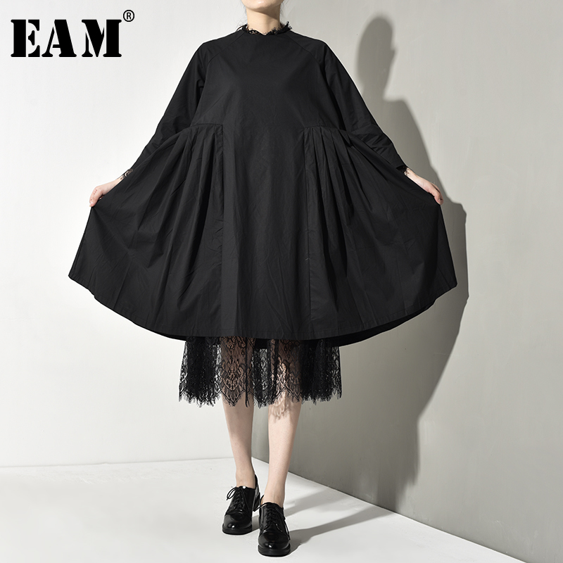 [EAM] Women Black Lace Pleated Two Piece Dress New Round Neck Long Sleeve Loose Fit Fashion Tide Spring Autumn 2020 Y1310