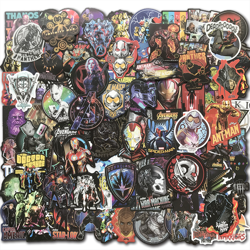 AQK 108Pcs/Pack Cool Super Hero MARVEL Stickers Kids Toy The Avengers Sticker Bomb For Skateboard Luggage Laptop Notebook Car TV