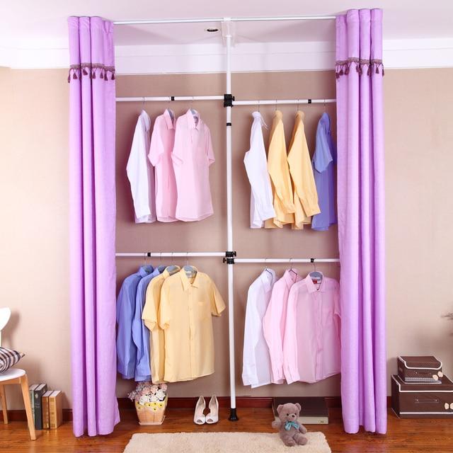 Barato Coreano simple armario muebles, de pie bastidores de metal de ...
