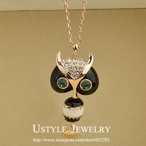 Fashion Owl Design Charm Style Rose Gold Color Chain Necklace Animal Jewelry image