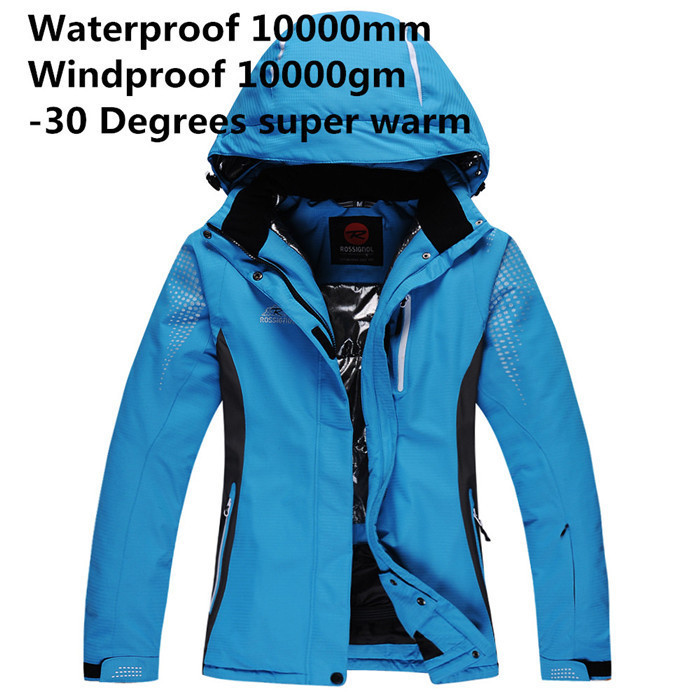 ФОТО Rossignol Cheap Ski Suit Women/Men Snowboard Clothes Waterproof -30 Warm Winter Coat Snow Suit Skiing Jackets Red/Blue/Yellow
