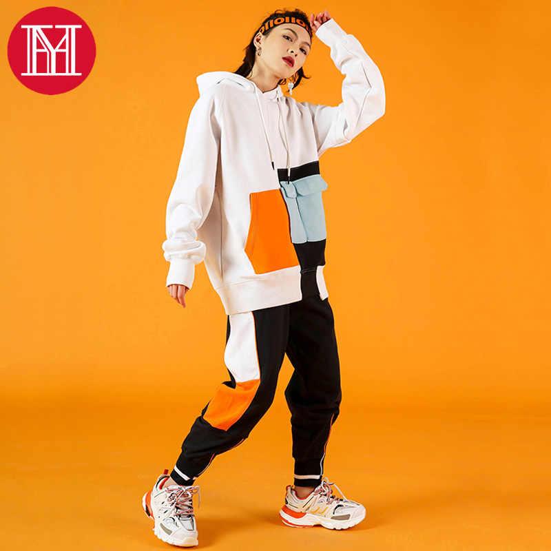 Женские комплекты одежды, модные женские свободные весенние костюмы из 2 предметов, игривые Брендовые спортивные повседневные комплекты в стиле хип-хоп для девочек, топы с капюшоном с брюками