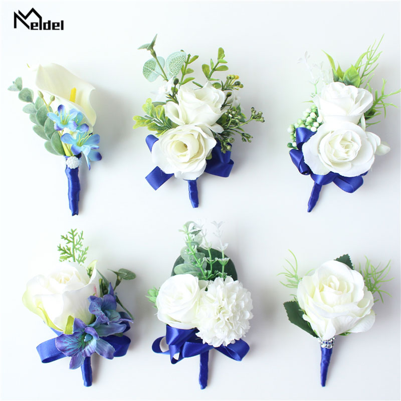Meldel Corsage Men Wedding Boutonniere Bridal Wrist Corsage Bracelet White Blue Groomsmen Lapel Pin Party Meeting Flowers Decor