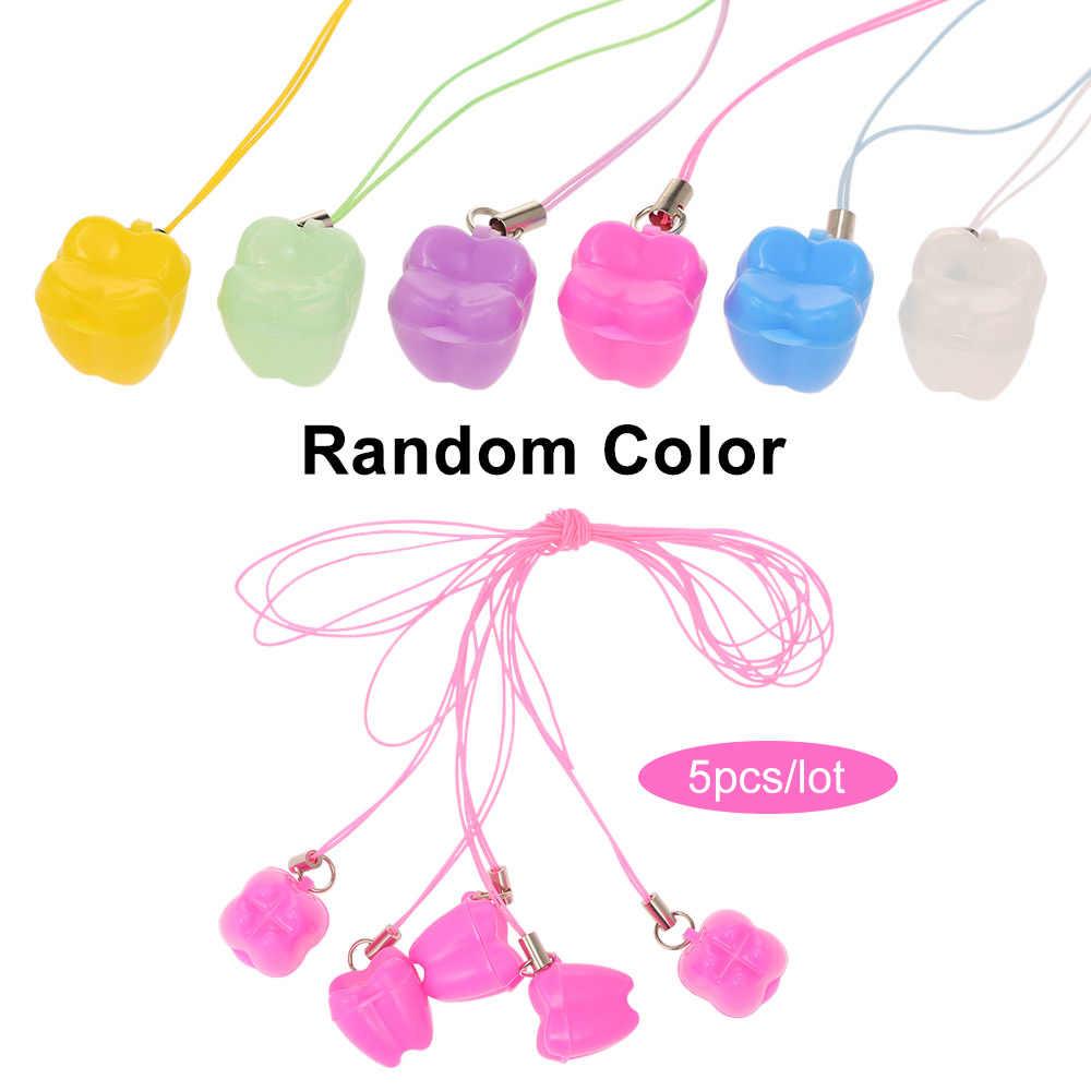 5 ชิ้น/ล็อตพลาสติก Mini ฟันกล่องที่มีสร้อยคอนมกล่องฟันทันตกรรมฟันกรณีเด็กเด็กของขวัญ