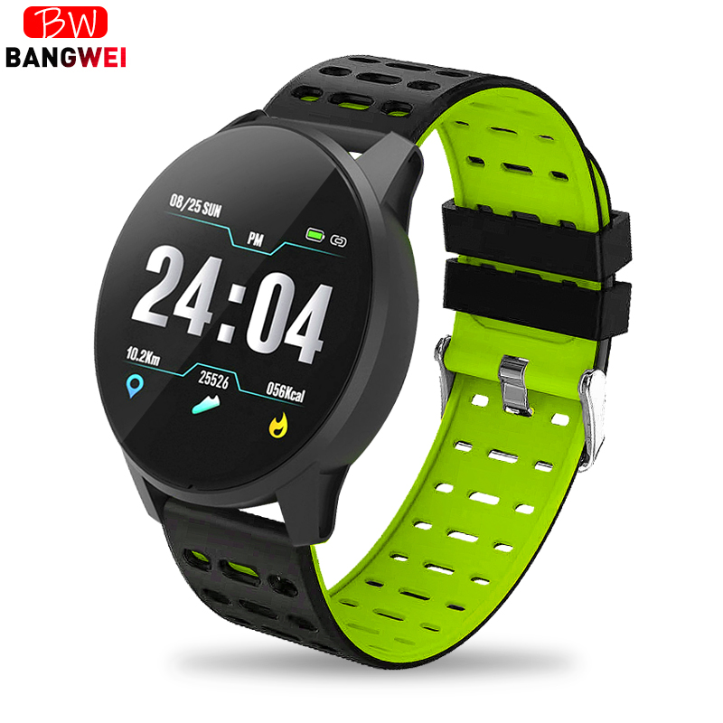 BANGWEI 2019 New Sports watch Blood Pressure Heart Rate Sport Mode Smart Watch Mens Women fitness