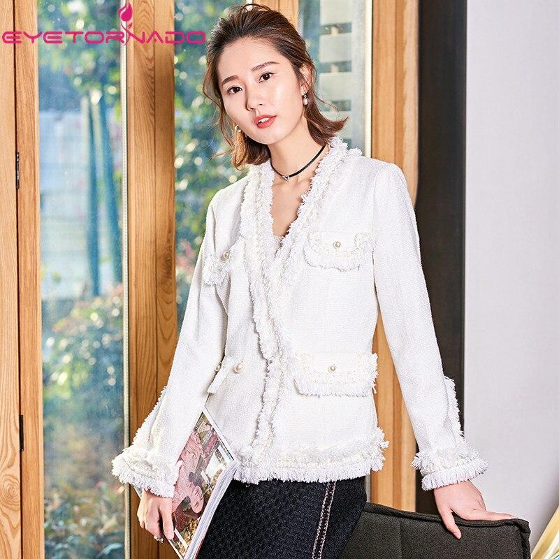 aafd5b2cbe904 V Perles Casual Court Gland Manteau Bouton De Cou Poches Blanc Laine  Travail Veste D affaires Tweed Franges Automne Femmes Hiver ...