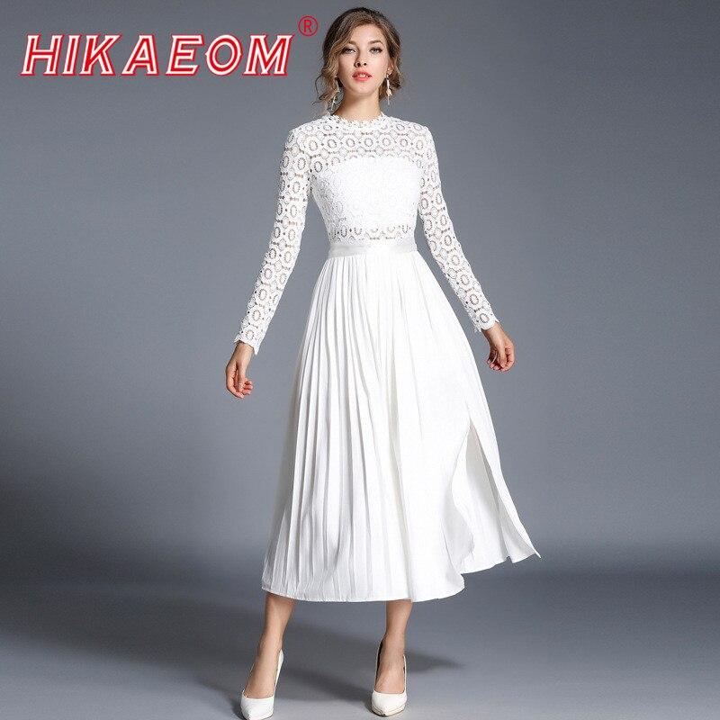 2018 осеннее белое кружевное платье с длинными рукавами новое