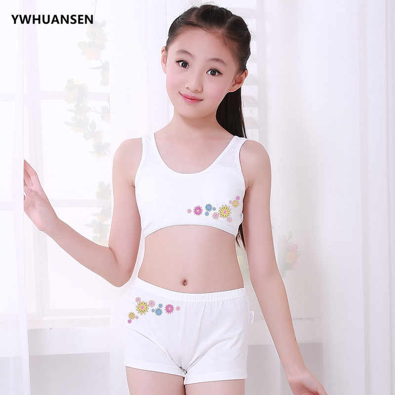 0459a2d485b81 ... YWHUANSEN 2pcs set Teenage Girl Underwear+ Training Bra Sports Clothes  For Teens Wireless Student Small