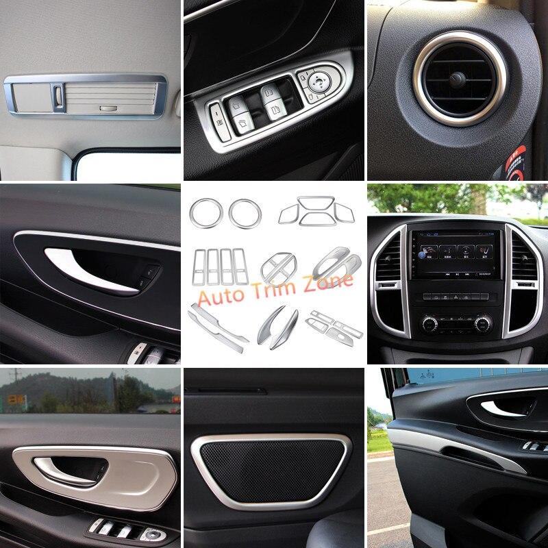22 шт. воздушный интерьер решетка дверные ручки динамик крышка отделка комплект ABS Матовый для Mercedes Vito W447 2014 2017