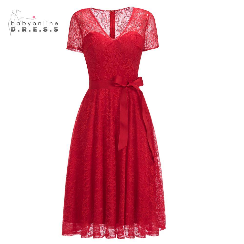 Babyonline Short Sleeves Burgundy Short Lace   Evening     Dresses   2019 Tea Length Formal Women   Dresses   With Sash vestido de festa