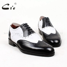cie round toe full brogues medallion white black mixed colors 100%genuine calf leather men shoe bespoke leather shoe flat OX439