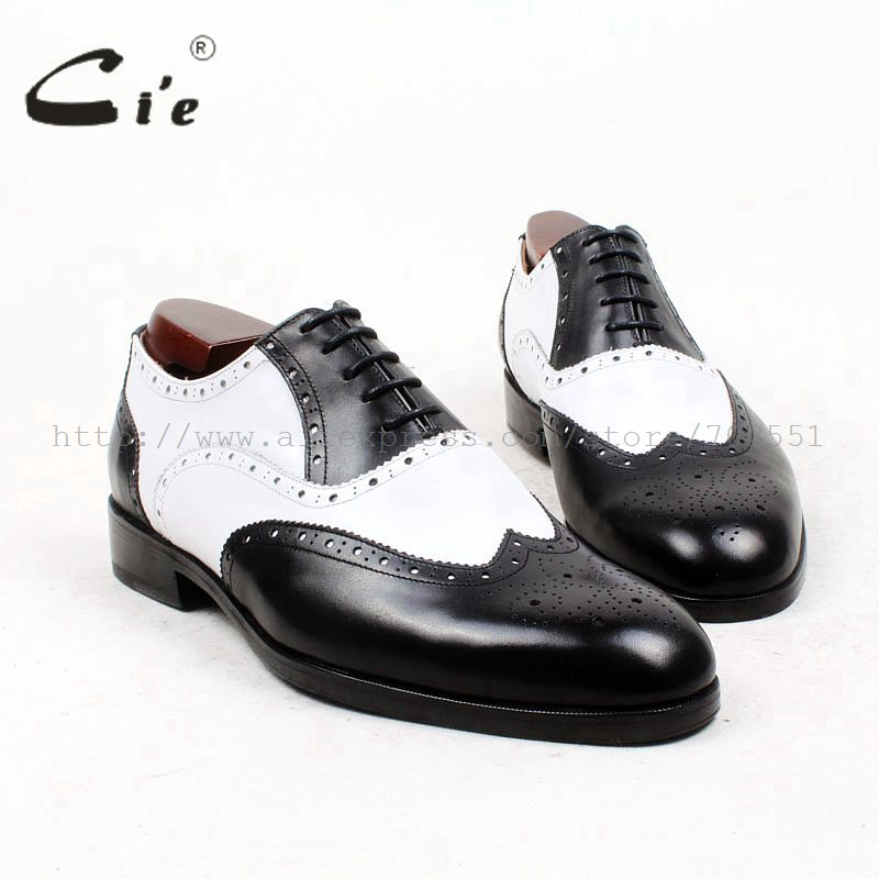 cie round toe full brogues medallion white black mixed colors 100%genuine calf leather men shoe bespoke leather shoe flat OX439 cie round toe wine black mixed colors patches shoe100