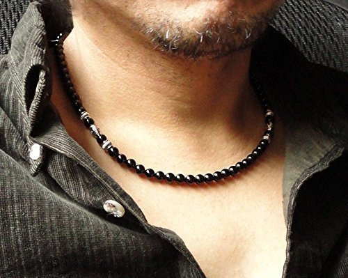 Mens Tribal Style Necklace with 6mm stone beads skull charm necklace