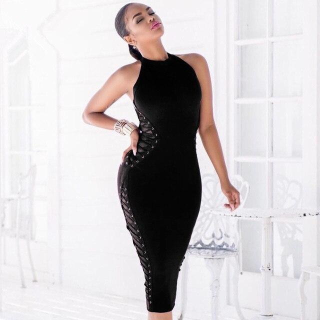 Hot Celebrity Wear! Sexy Black 2017 New Fashion Chic Side Lace Up Embellished Sleeveless Party Women Wholesale Bandage Dress