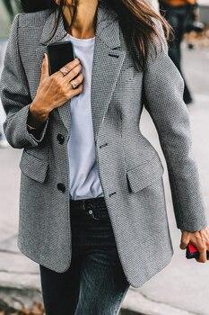 Long Sleeve Lapel Collar Pocket Slim Female Coat