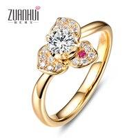 Ювелирные украшения 18 К золотой цветок 0.2ct алмаз обручальное кольцо