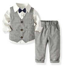 Baby Boy Clothes Children Clothing Cotton 2019 spring autumn new long-sleeved shirt + vest + trousers bow tie gentleman suit цена